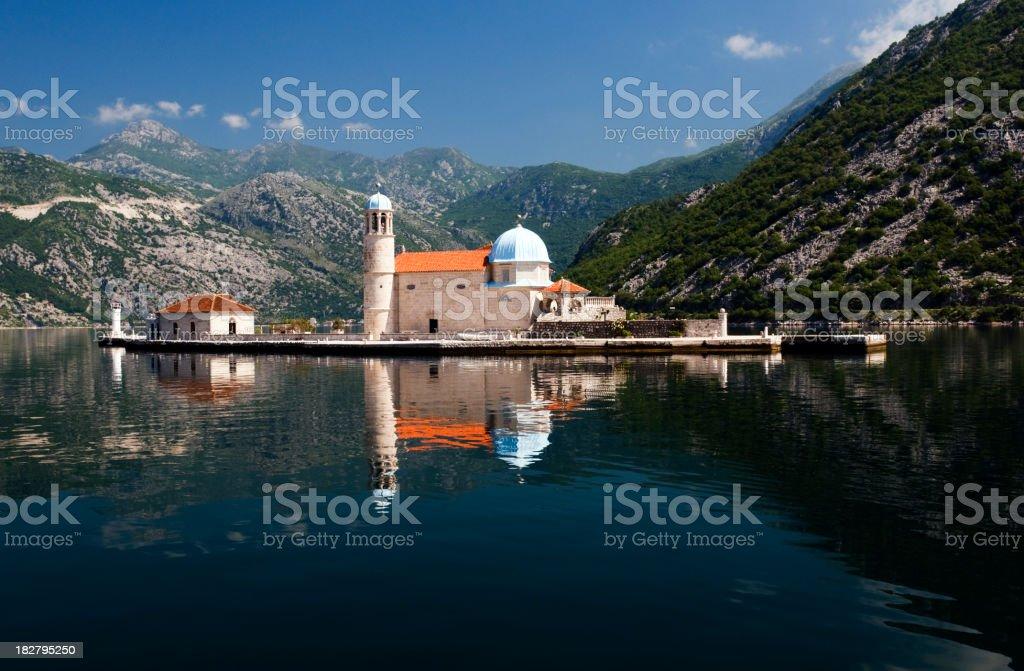 Island Church, Kotor Bay, Montenegro stock photo