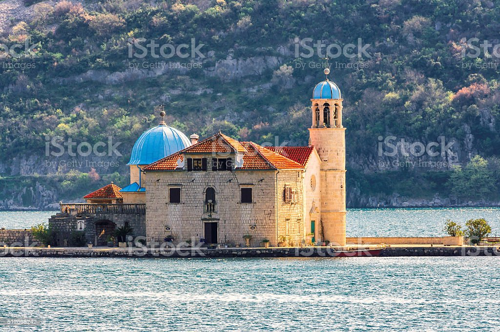 Island Church, Kotor Bay, Montenegro stock photo