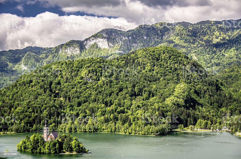 Island Church on Lake Bled, Slovenia royalty-free stock photo