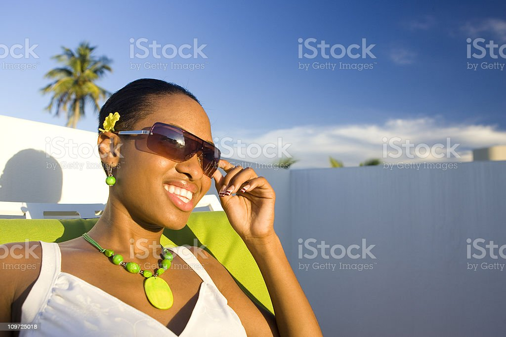 Island Girl in Tropical Vacation Paradise royalty-free stock photo