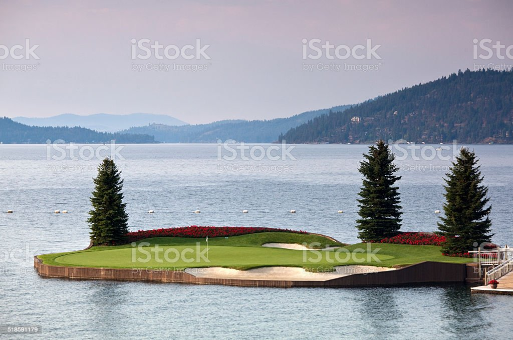 Island Golf Green at Resort Course in Pacific Northwest stock photo
