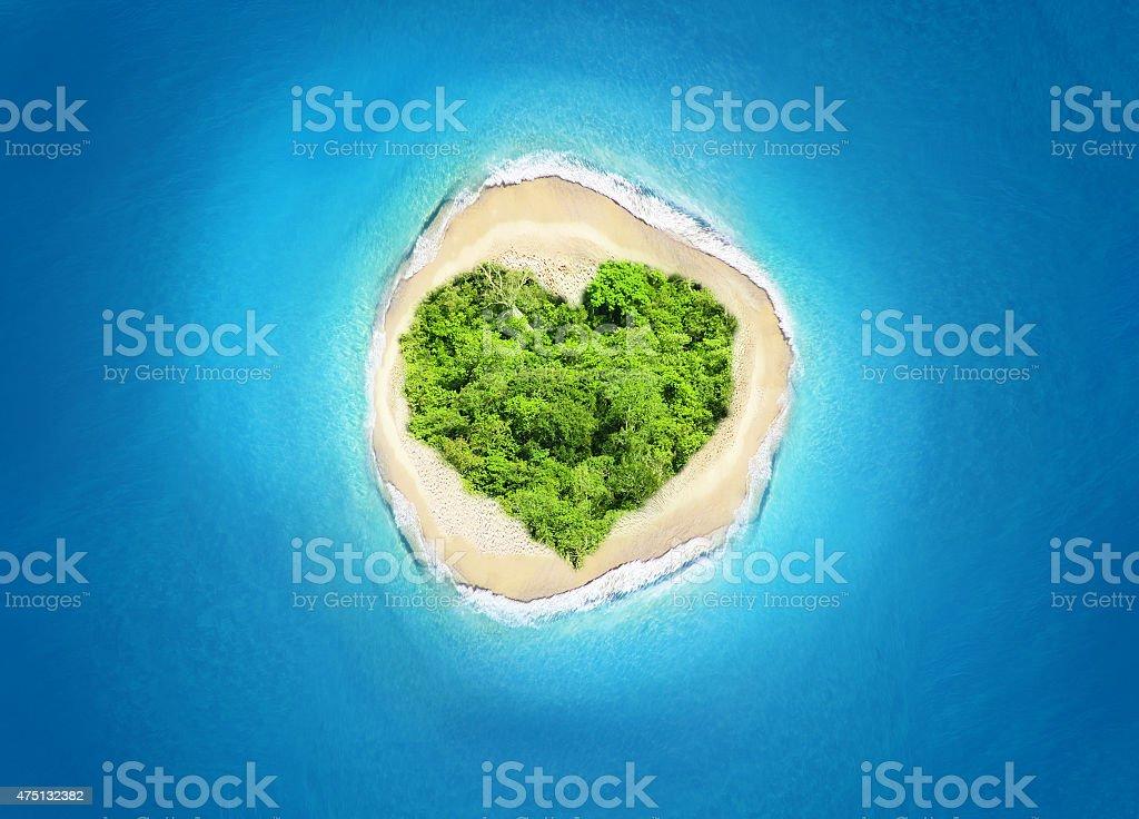 island heart shape stock photo