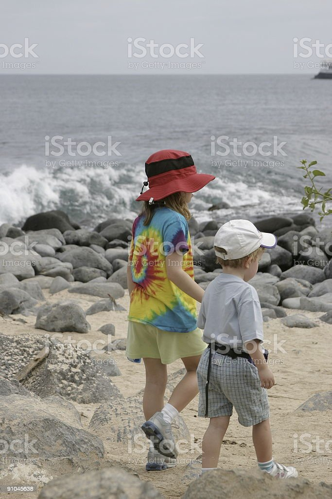 Island Hiking Buddies - Two Young Children royalty-free stock photo
