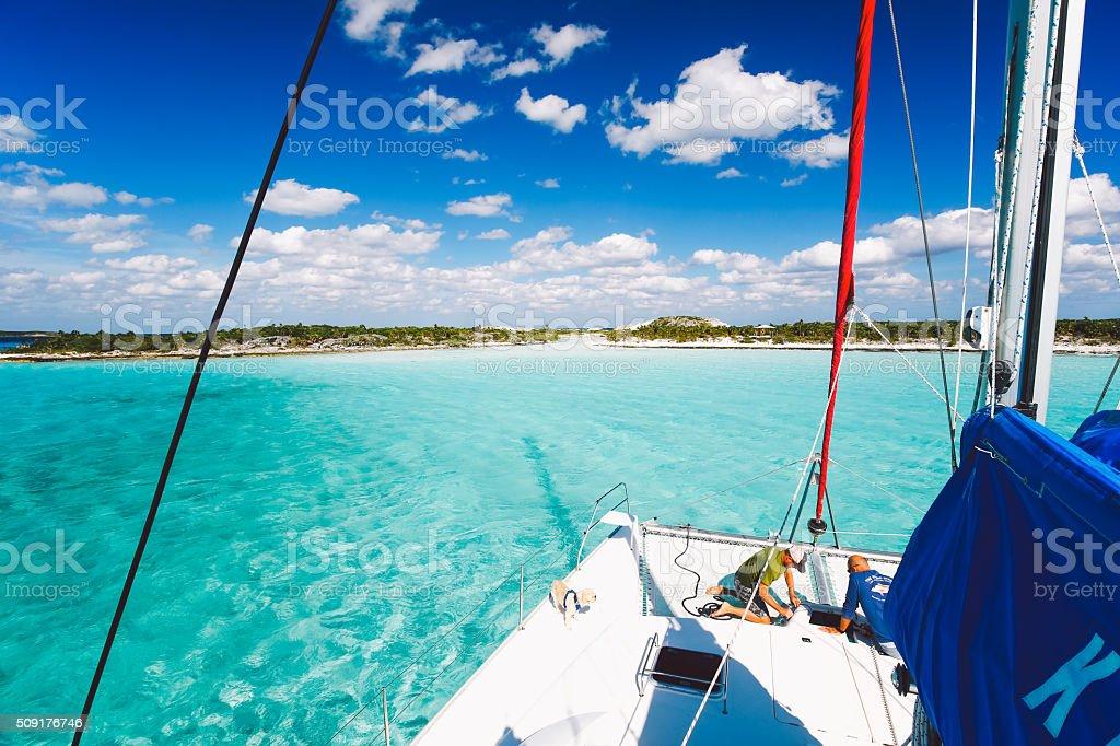Island hopping in The Bahamas on a sailboat stock photo