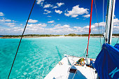 Island hopping in The Bahamas on a sailboat