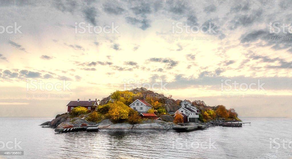 Island in autumn colors stock photo