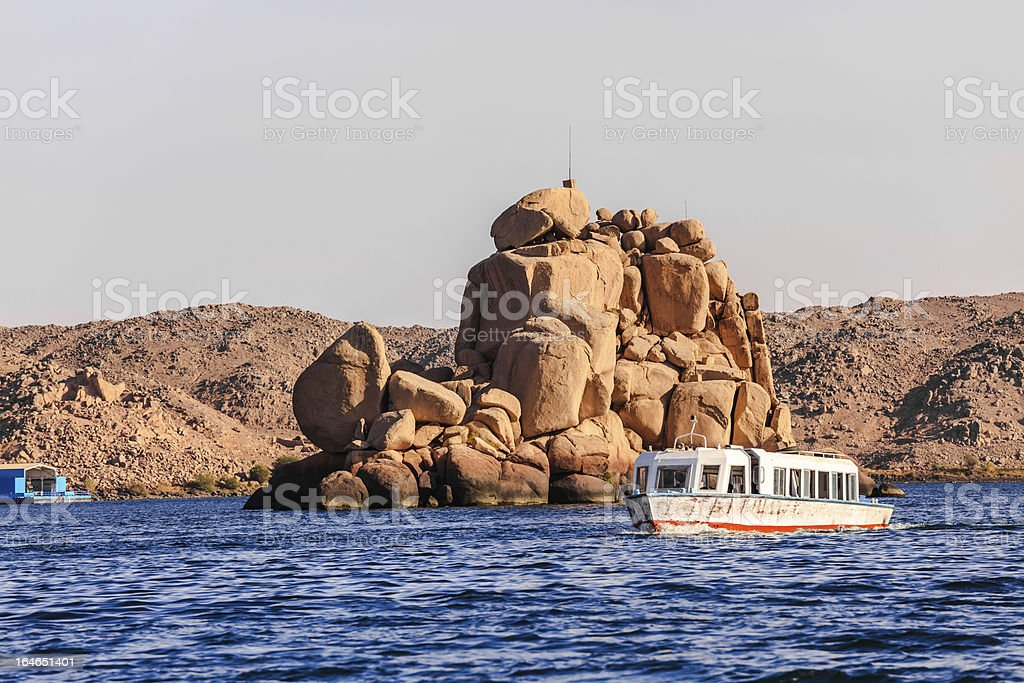 island in lake nasser stock photo
