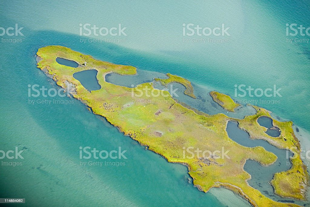 Island in Narragansett Bay, Newport County, Rhode Island, USA stock photo