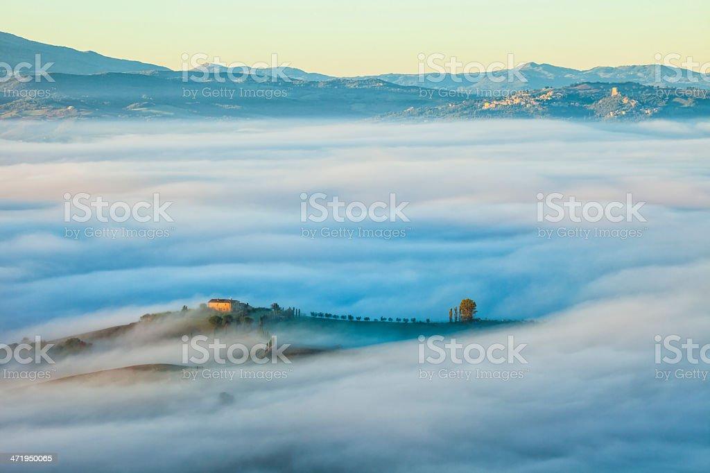 Island in The Sea of Mist, Tuscany, Italy royalty-free stock photo