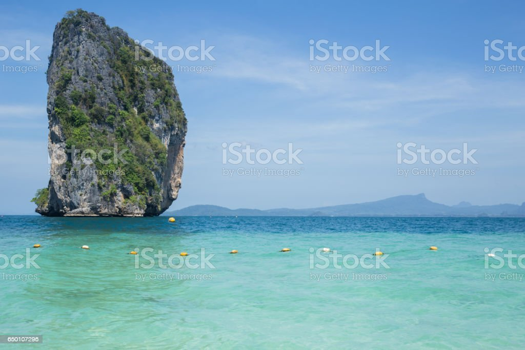 Island in the sea, seascape of Thailand ocean travel background in Summer season. stock photo