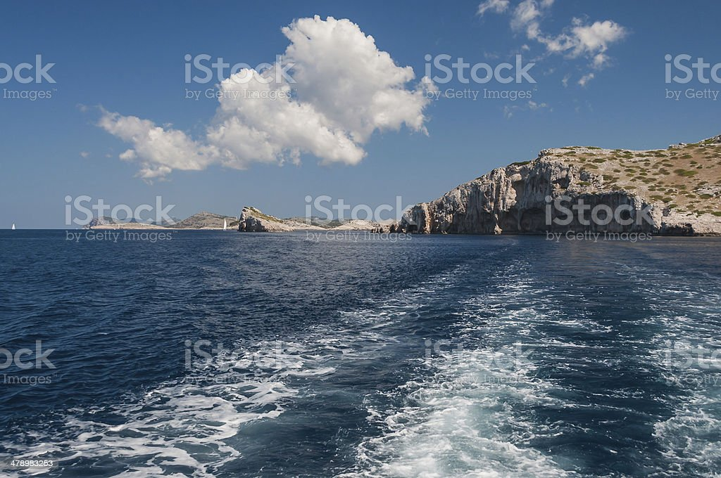 Island in the sea with cliffs, Kornati National Park, Croatia royalty-free stock photo