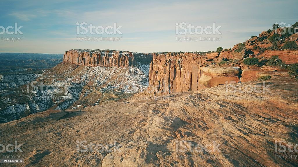 Island In the Sky Mesa Bluff, Canyon, Junction Butte, Canyonlands stock photo
