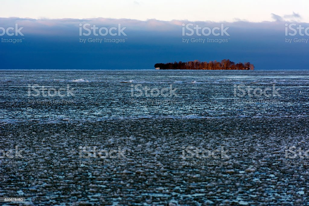 island Kotlin, Gulf Finland, ice, snow, Kronstadt, Russia, North stock photo