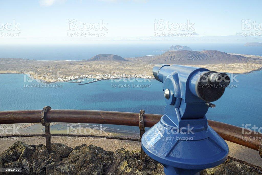 Island La Graciosa seen from Mirador del Rio, Lanzarote stock photo