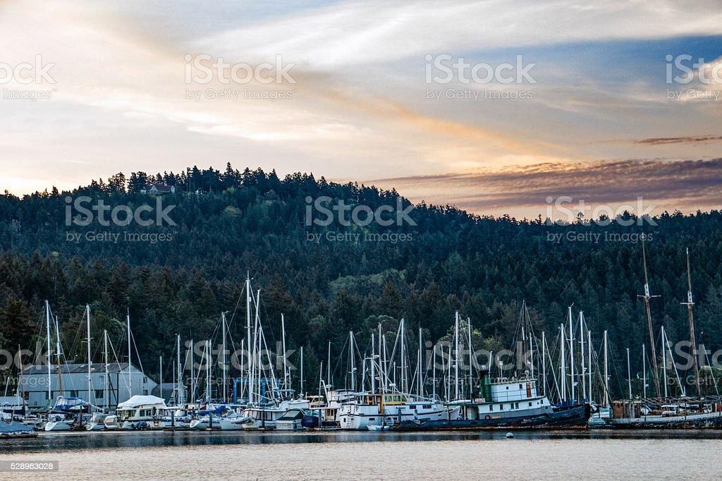 Island marina at sunrise against dark mountain stock photo