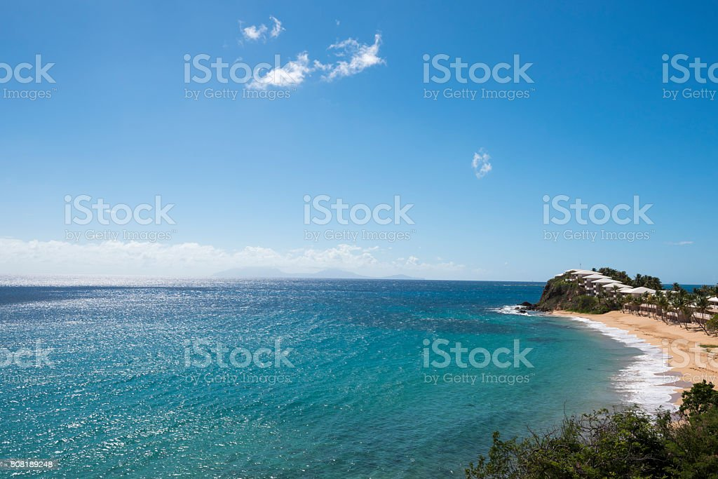 Island of Antigua, with Montserrat in distance stock photo