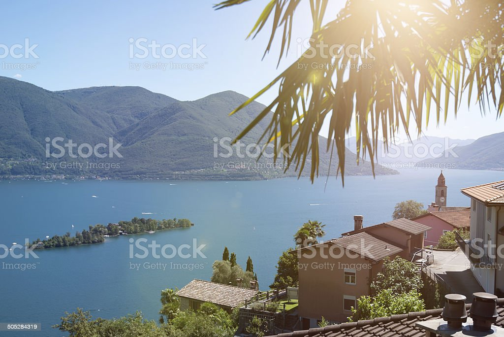 Island of Brissago from Ronco sopra Ascona, Lake Maggiore Switzerland stock photo