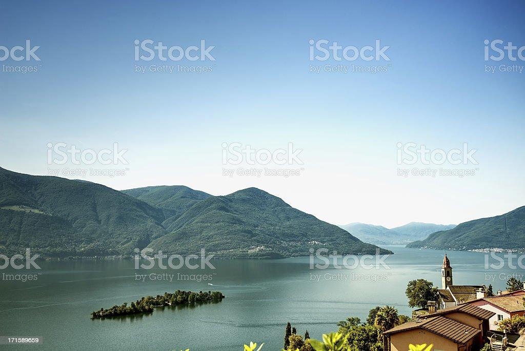 Island of Brissago, village Ronco sopra Ascona, Lake Maggiore Switzerland royalty-free stock photo