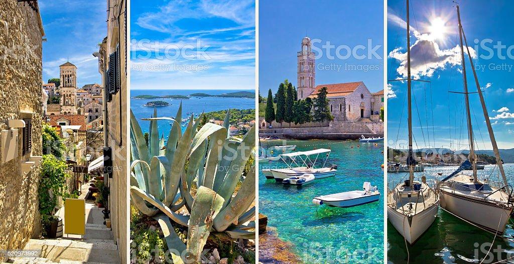 Island of Hvar tourist collage stock photo