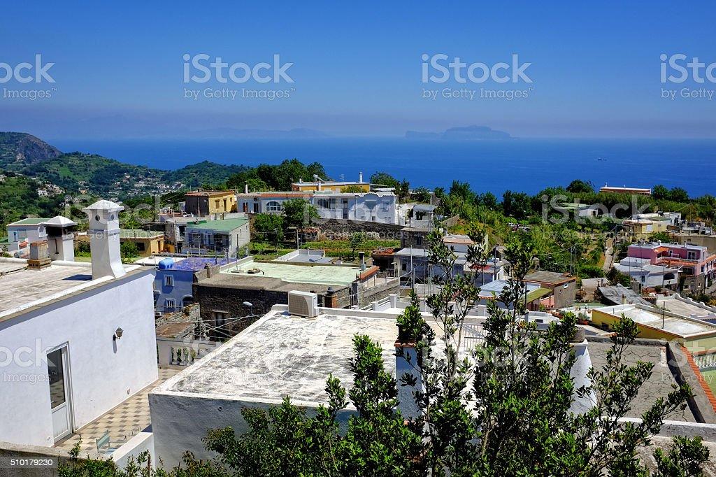 Island of Ischia in Mediterranean stock photo