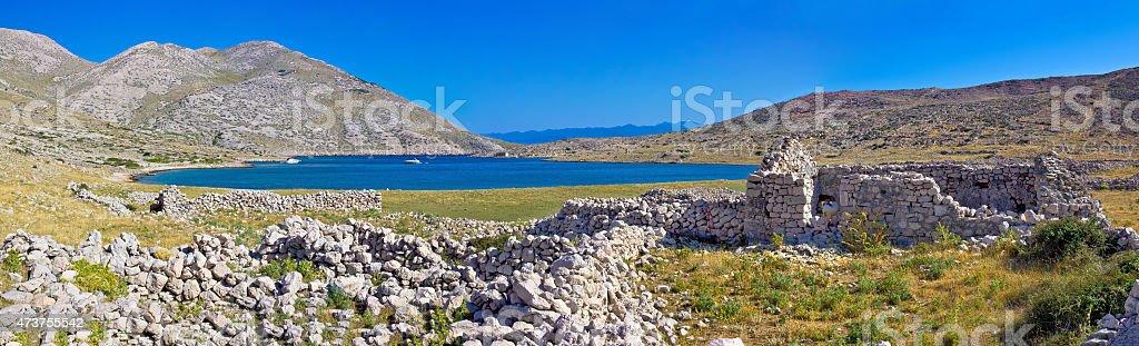 Island of Krk yachting bay panorama stock photo