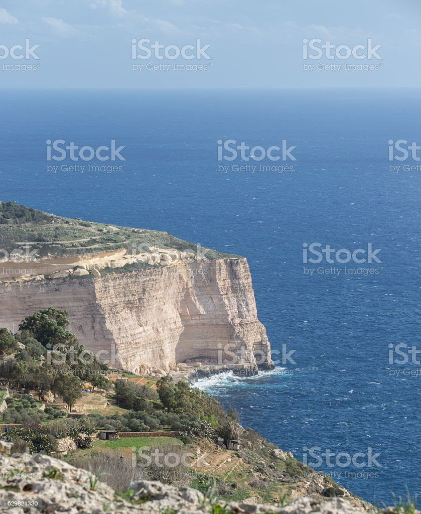 Island of Malta - overlooking beautiful blue sea stock photo
