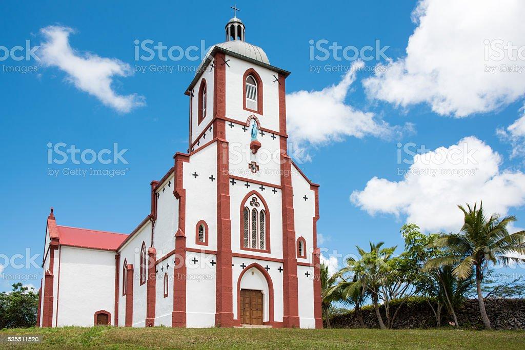 Island of Mare La Roche Church New Caledonia stock photo