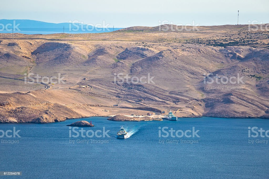 Island of Pag stone desert view stock photo