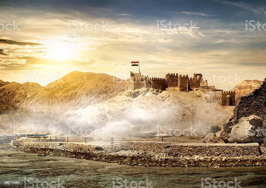 Island of pharaohs in Taba stock photo