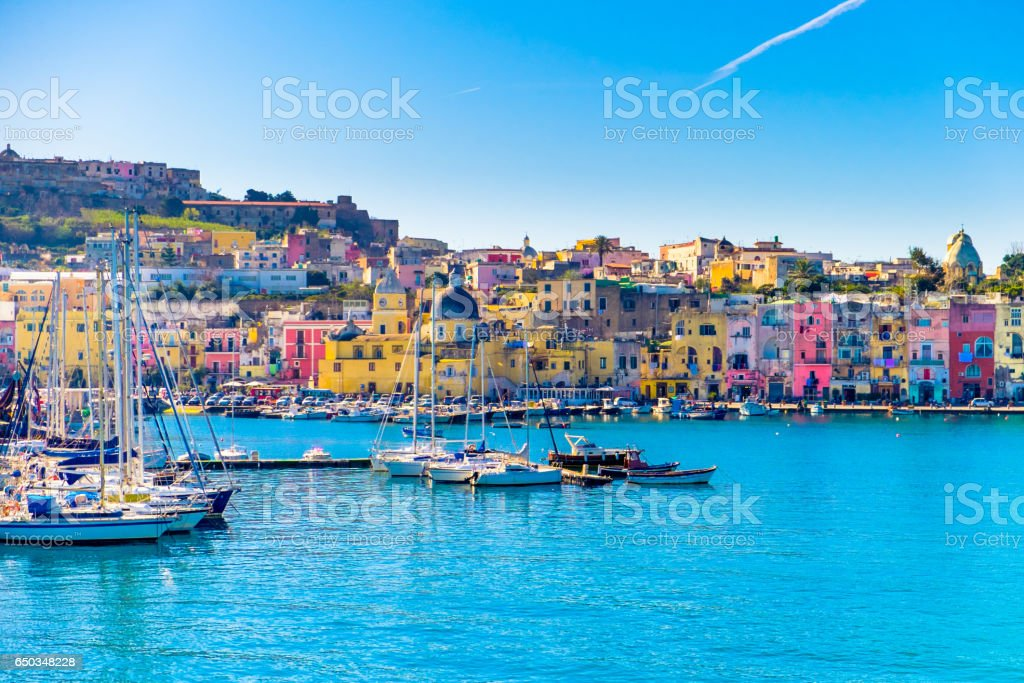 Island of Procida Harbor, Naples, Italy stock photo