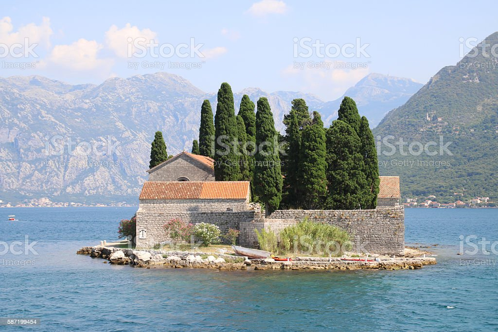 Island of Saint George, Bay of Kotor, Montenegro stock photo