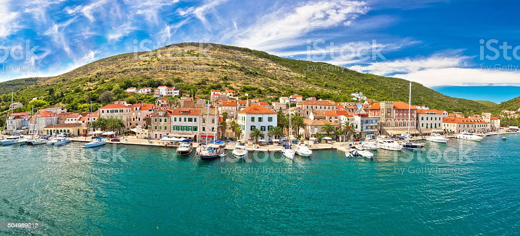 Island of Vis seafront panorama stock photo