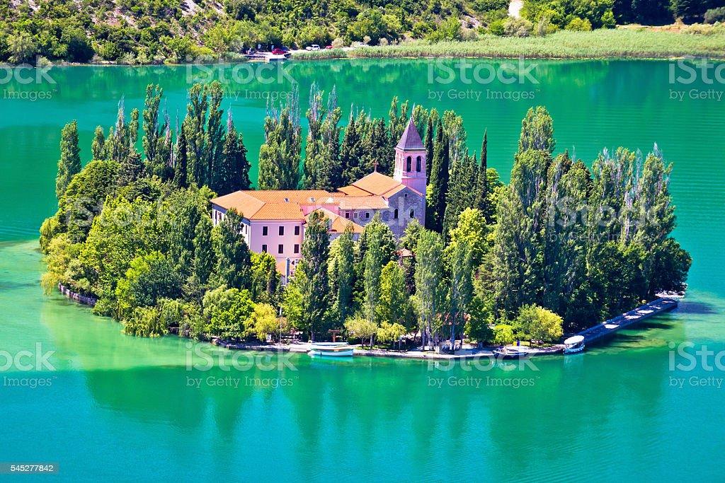 Island of Visovac monastery in Krka stock photo