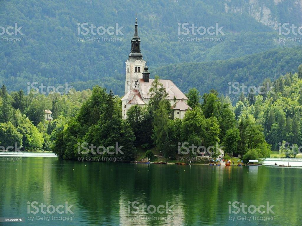 Island on Bled lake stock photo