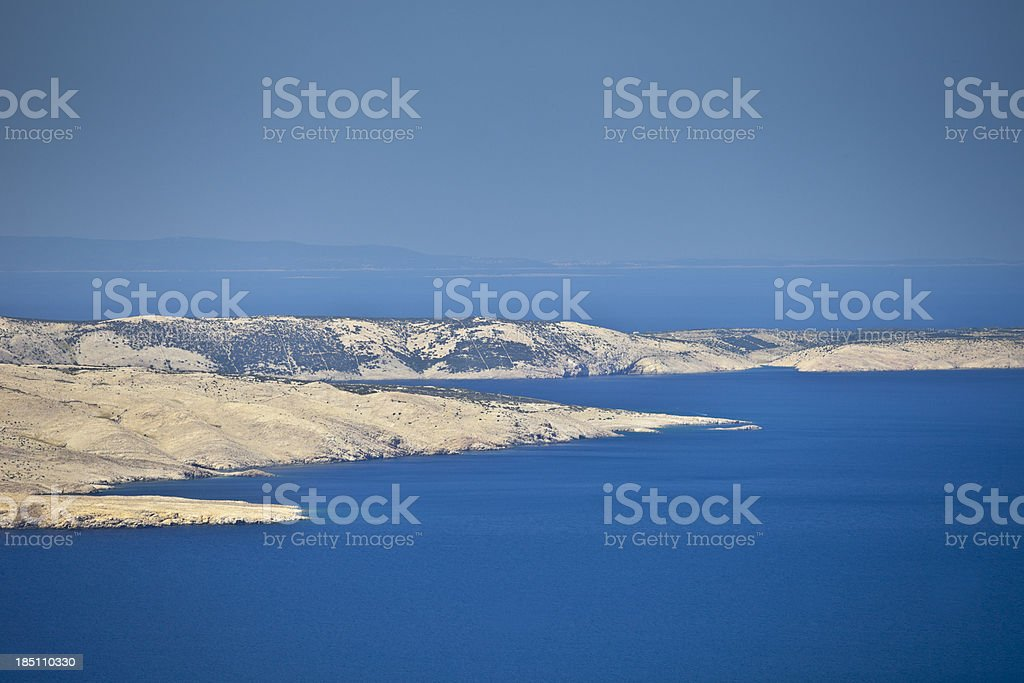 Island Pag, Adriatic sea stock photo