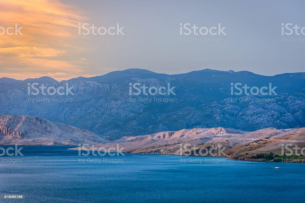 Island Pag seascape aerial stock photo