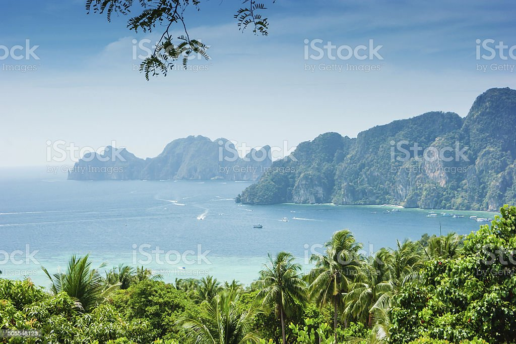 island  Phi Phi Don  from the viewing point,Thailand stock photo
