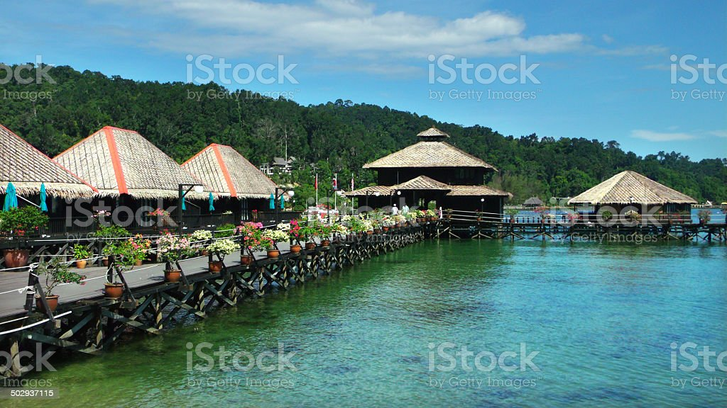 Island resort with bungalows stock photo