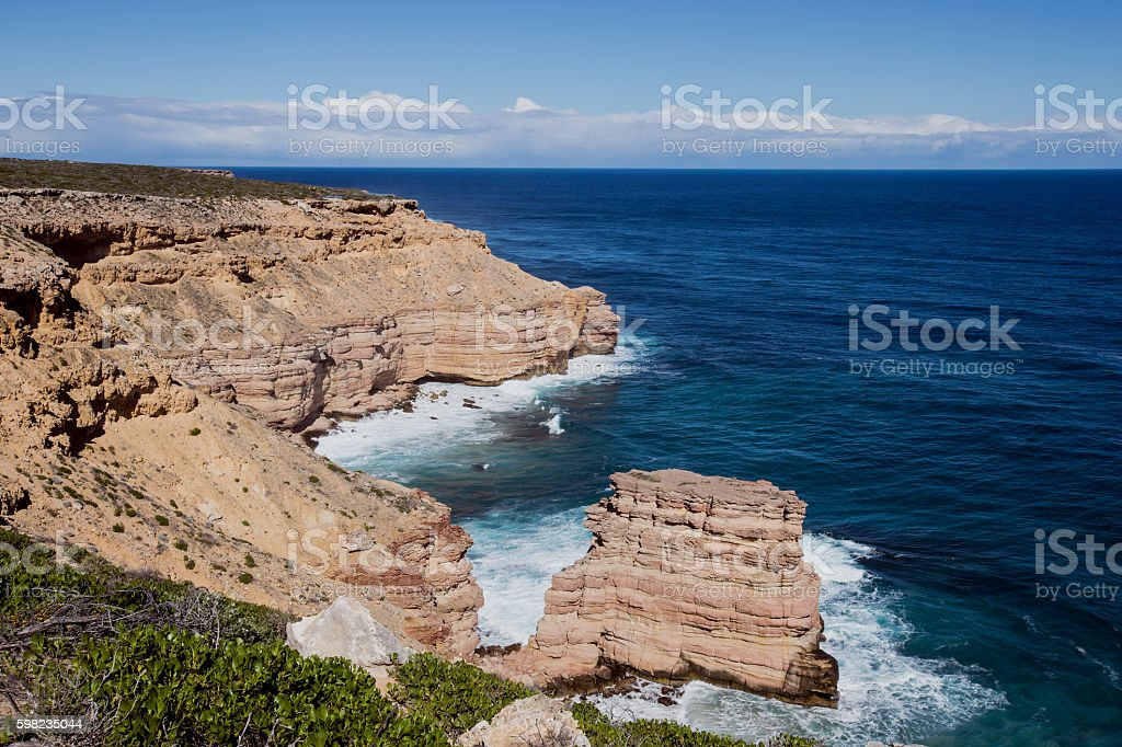 Island Rock at the Kalbarri Rugged Coastline Western Australia stock photo