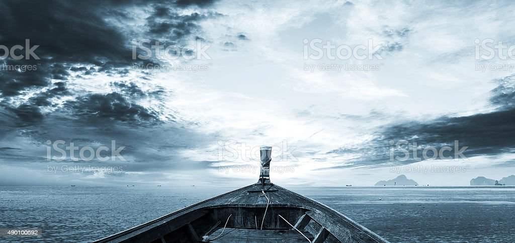 Island trip by boat with sunrise stock photo