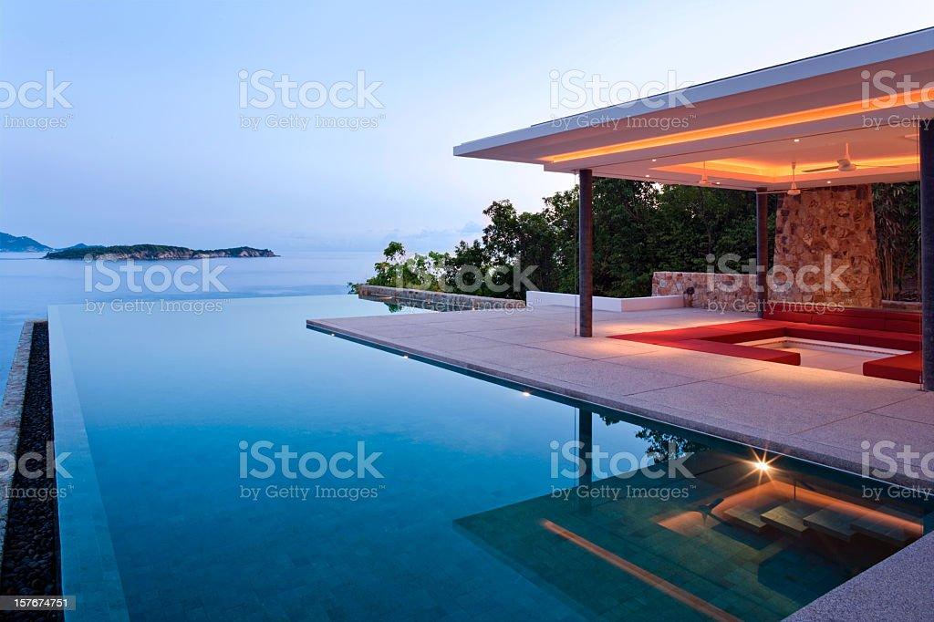 Island Villa At Sunrise stock photo