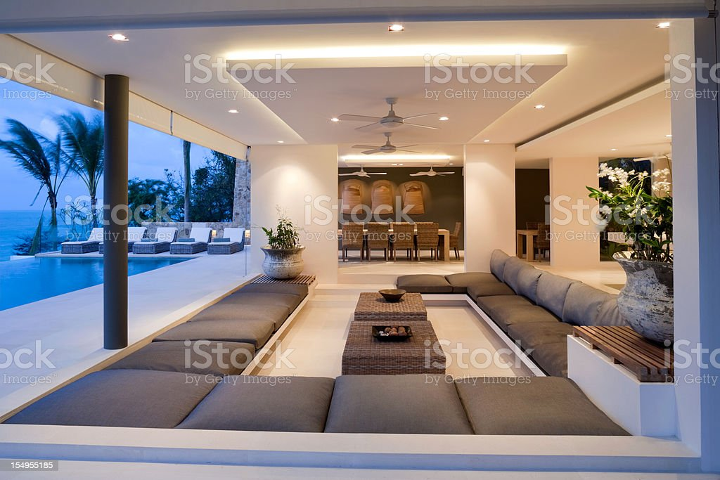 Island Villa Interior royalty-free stock photo