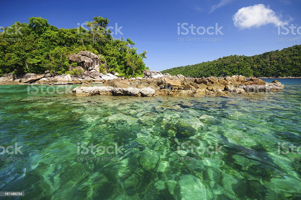 Island with clear sea water. stock photo