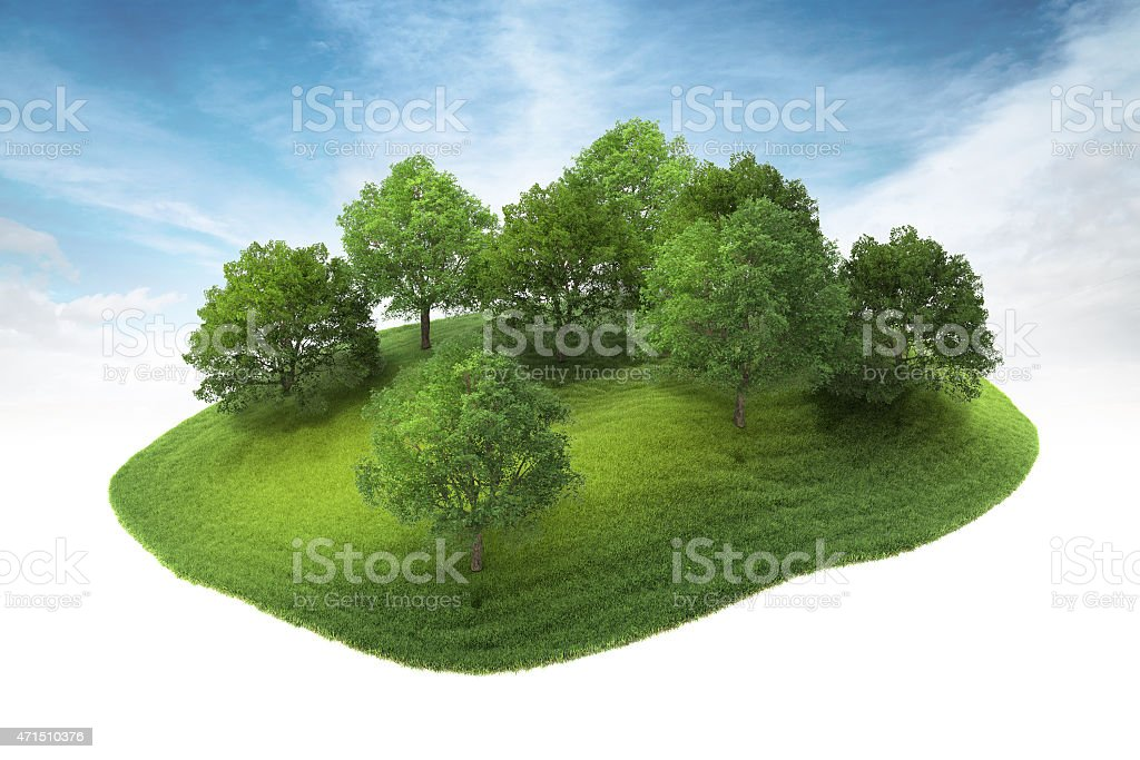 island with grove floating in the air stock photo