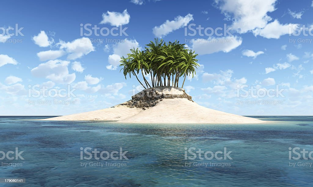 Island with palm tree stock photo