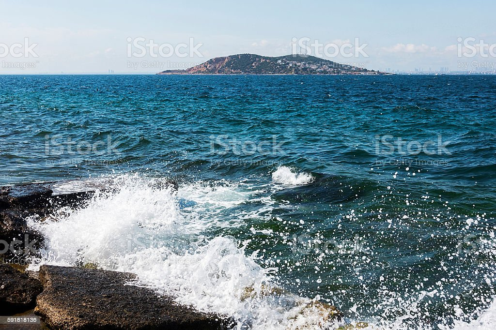 Island with Wave stock photo