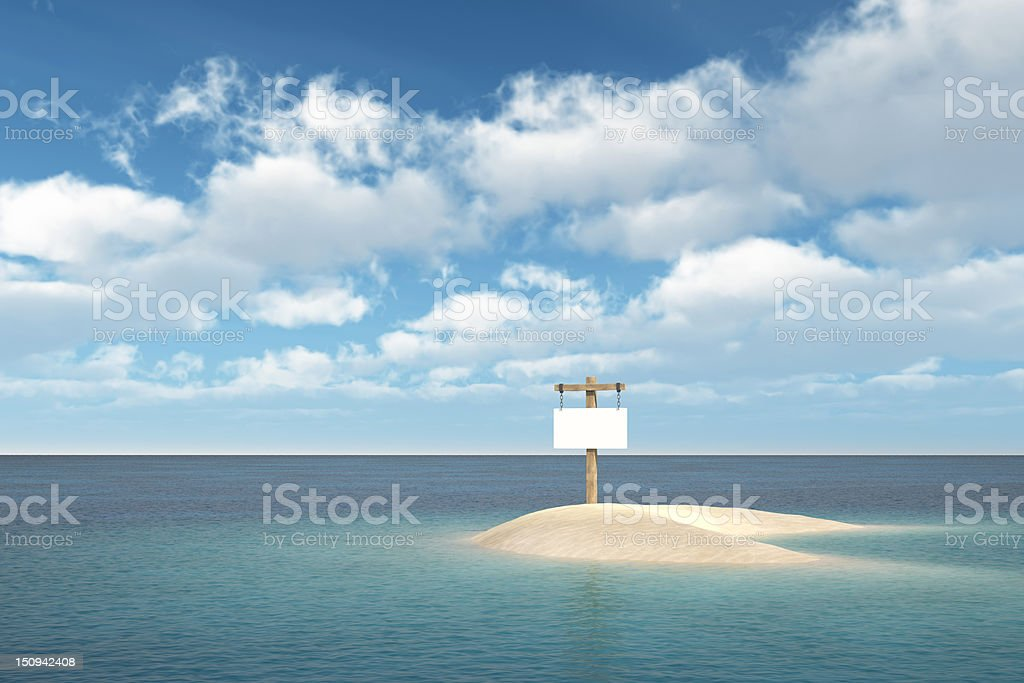 Island with wood sign royalty-free stock photo