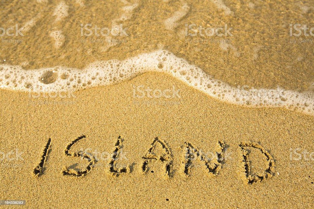 Island - written in sand on beach texture stock photo