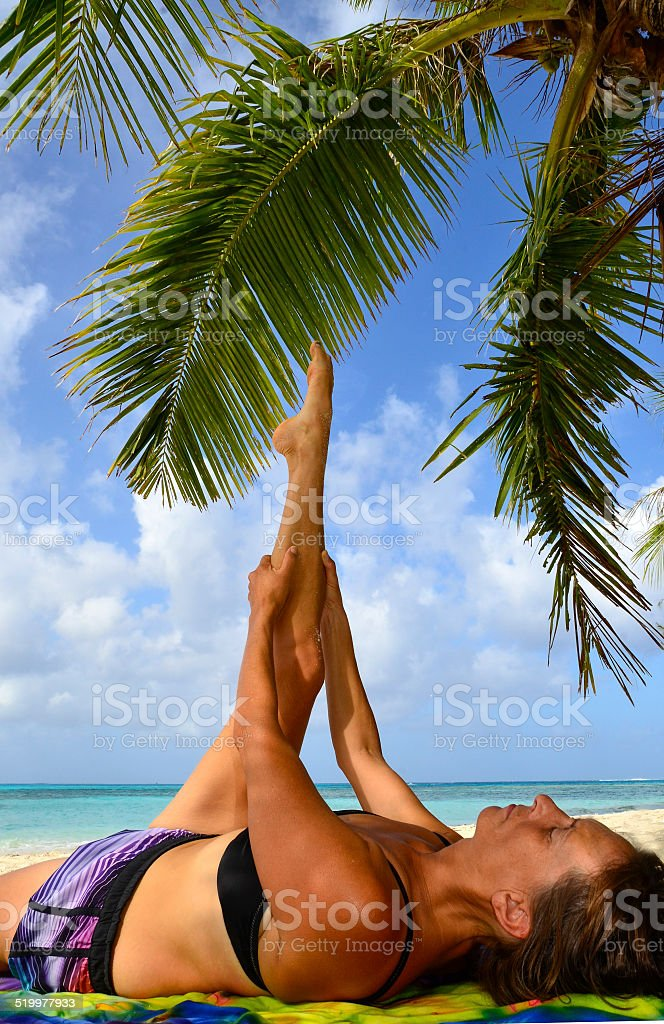 Island Yoga Stretch stock photo