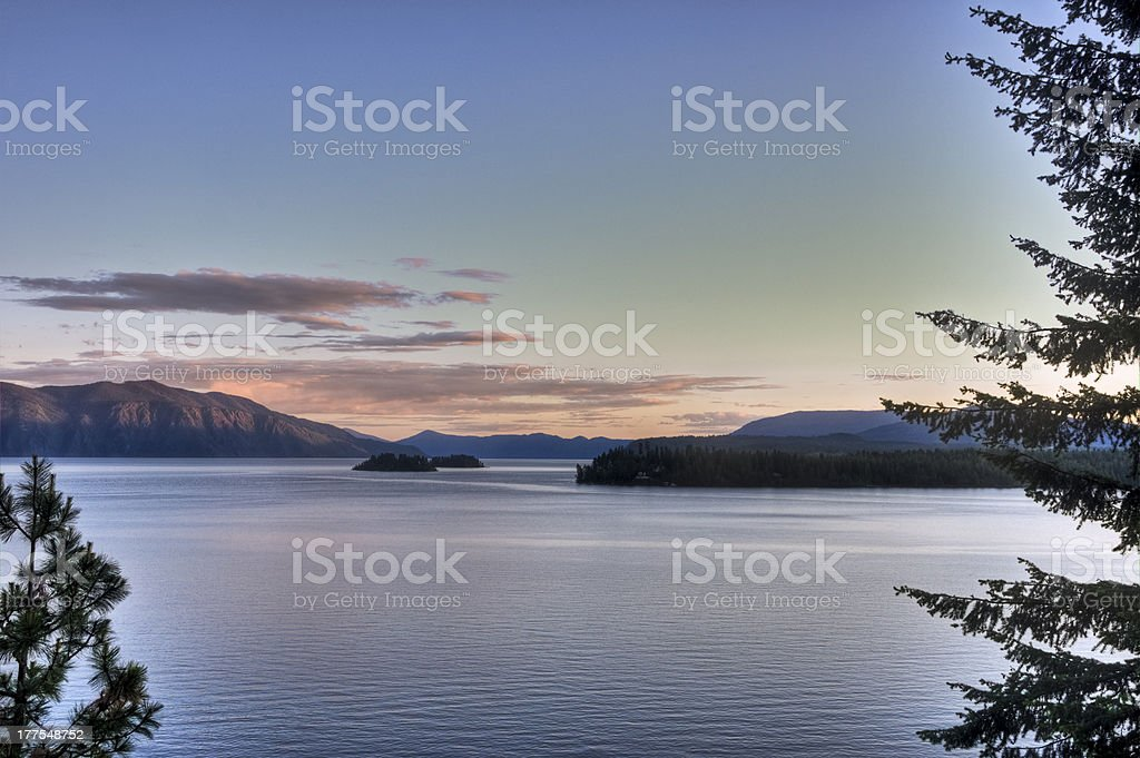 Islands of Lake Pend Oreille Sunset stock photo